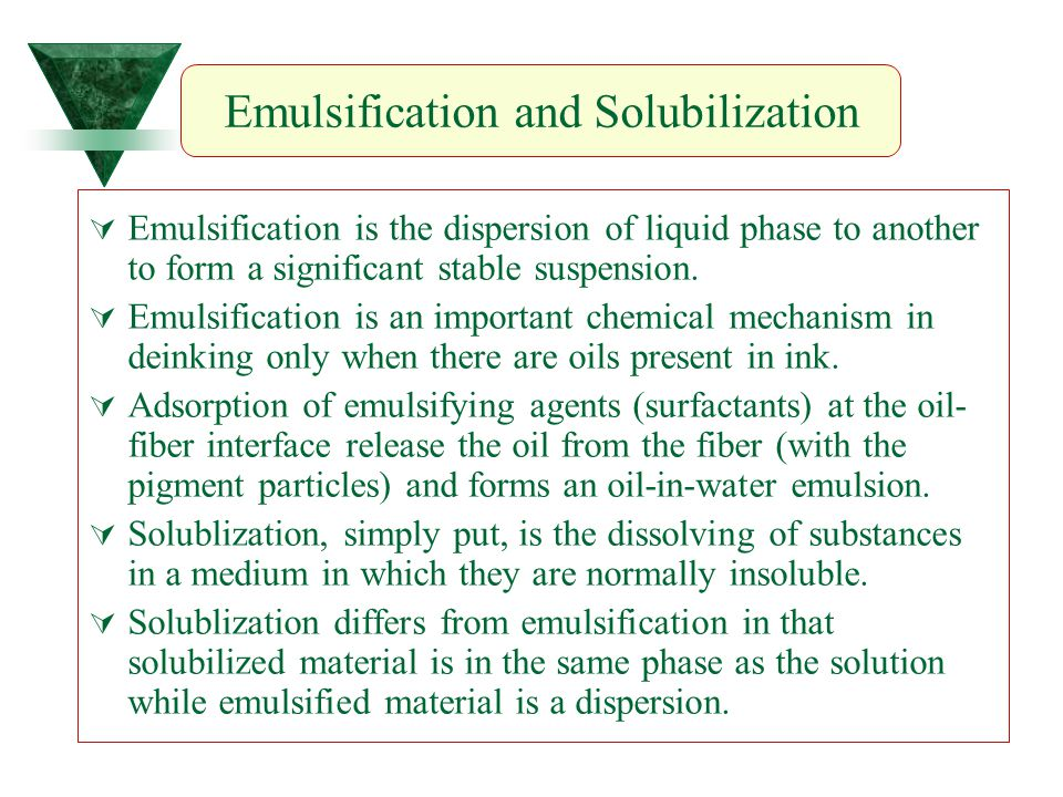 Emulsification and Solubilization