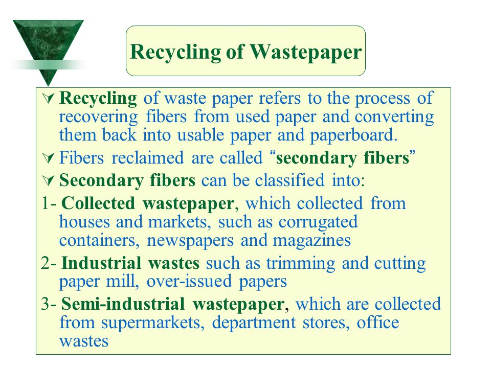 Recycling of Wastepaper