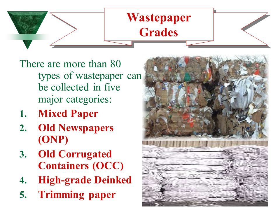 Wastepaper Grades There are more than 80 types of wastepaper can be collected in five major categories: