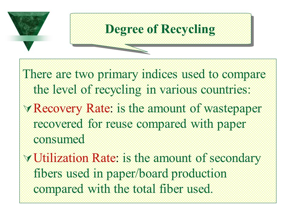 Degree of Recycling There are two primary indices used to compare the level of recycling in various countries: