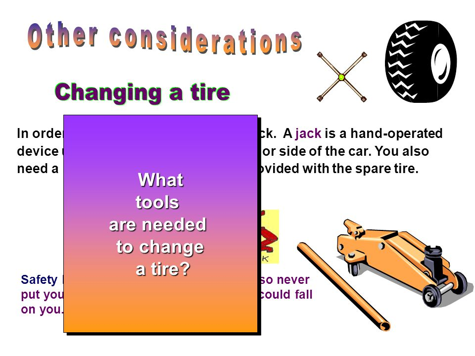 Other considerations Changing a tire What tools are needed to change