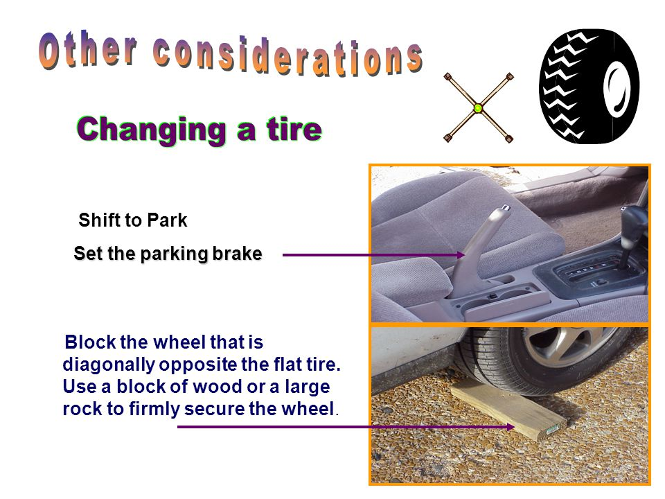 Other considerations Changing a tire Shift to Park