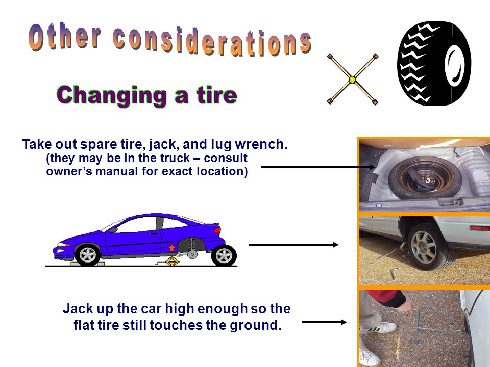 Other considerations Changing a tire