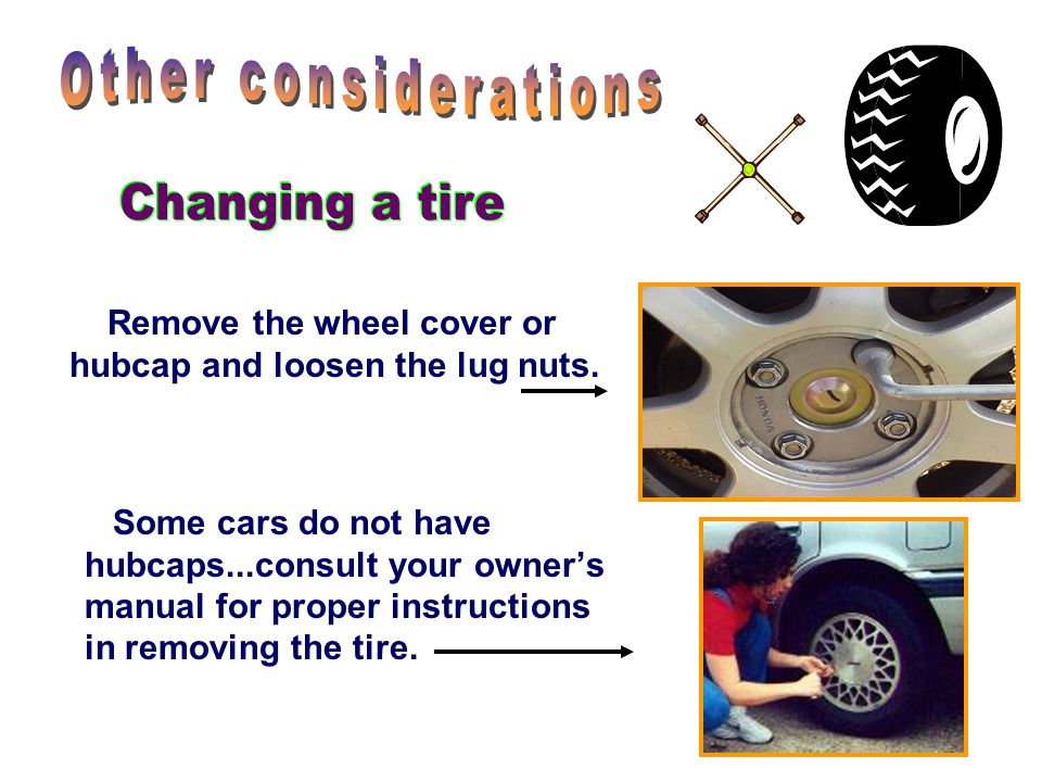 Remove the wheel cover or hubcap and loosen the lug nuts.