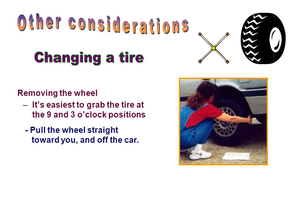 Other considerations Changing a tire Removing the wheel