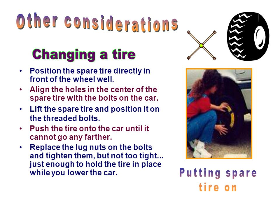Other considerations Changing a tire Putting spare tire on