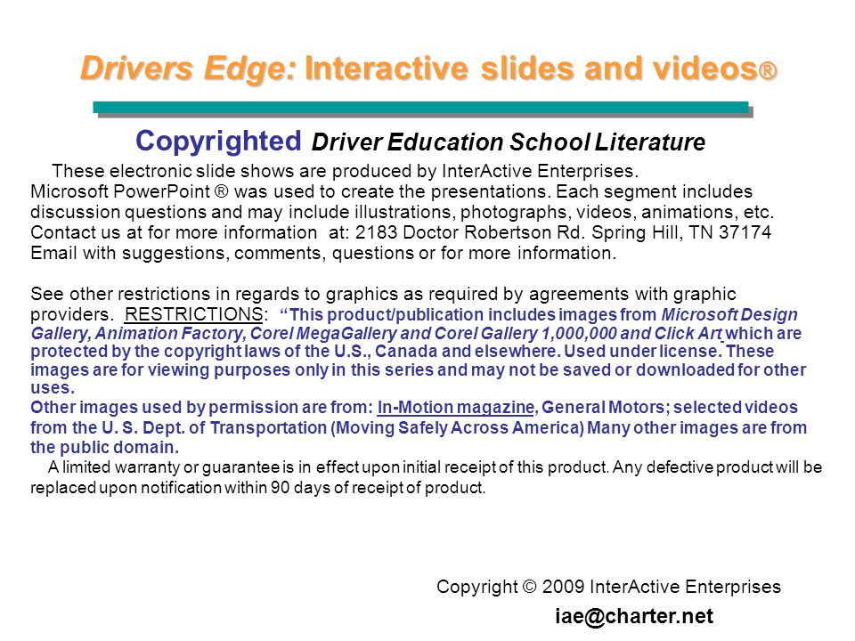 Drivers Edge: Interactive slides and videos®