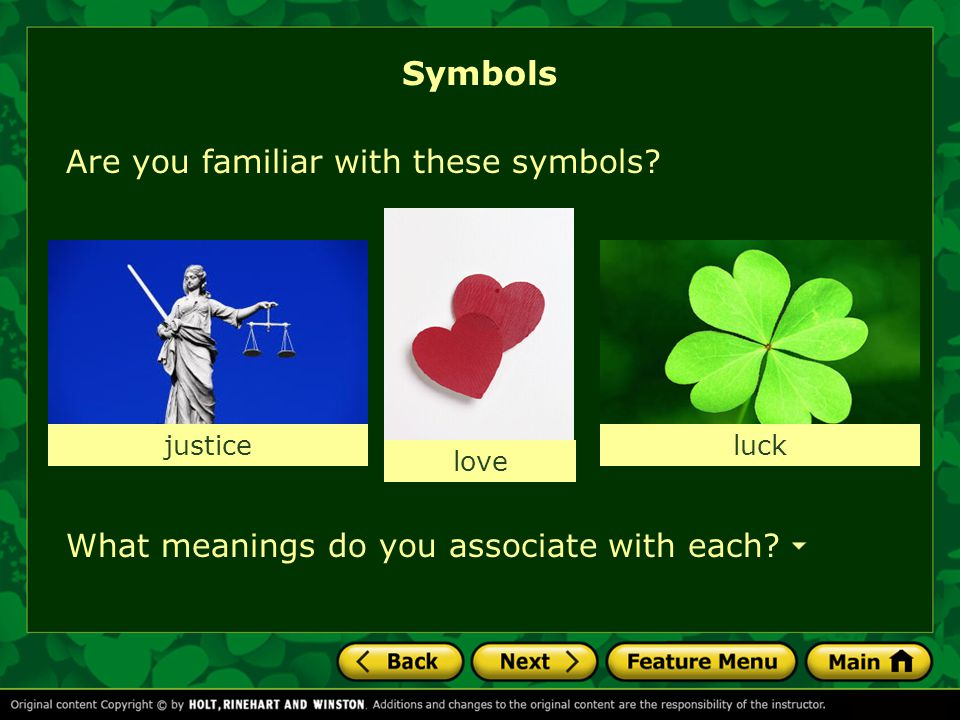 Symbols Are you familiar with these symbols