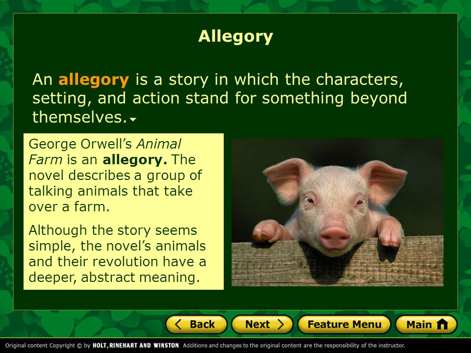 Allegory An allegory is a story in which the characters, setting, and action stand for something beyond themselves.