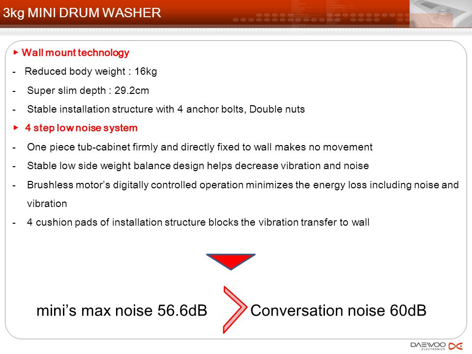 mini's max noise 56.6dB Conversation noise 60dB