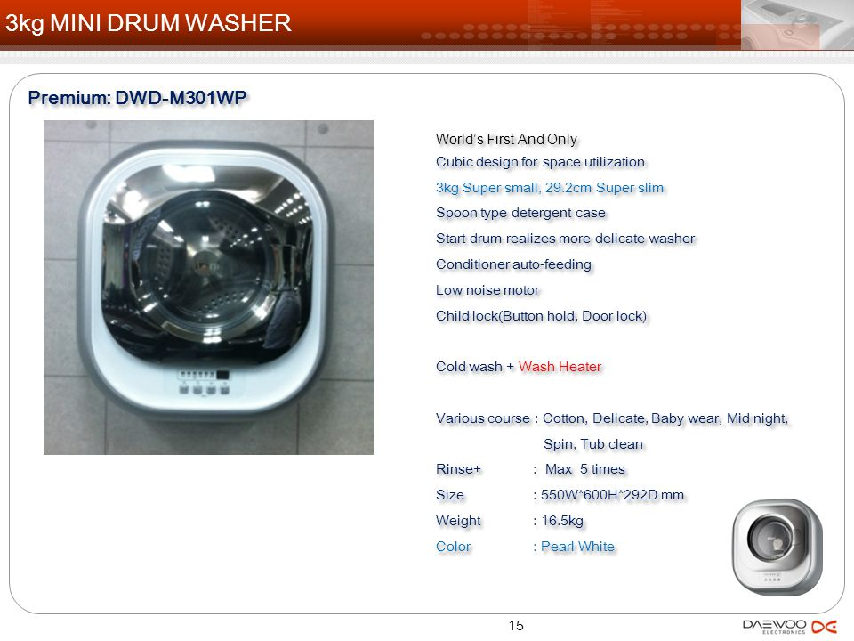3kg MINI DRUM WASHER Premium: DWD-M301WP World's First And Only