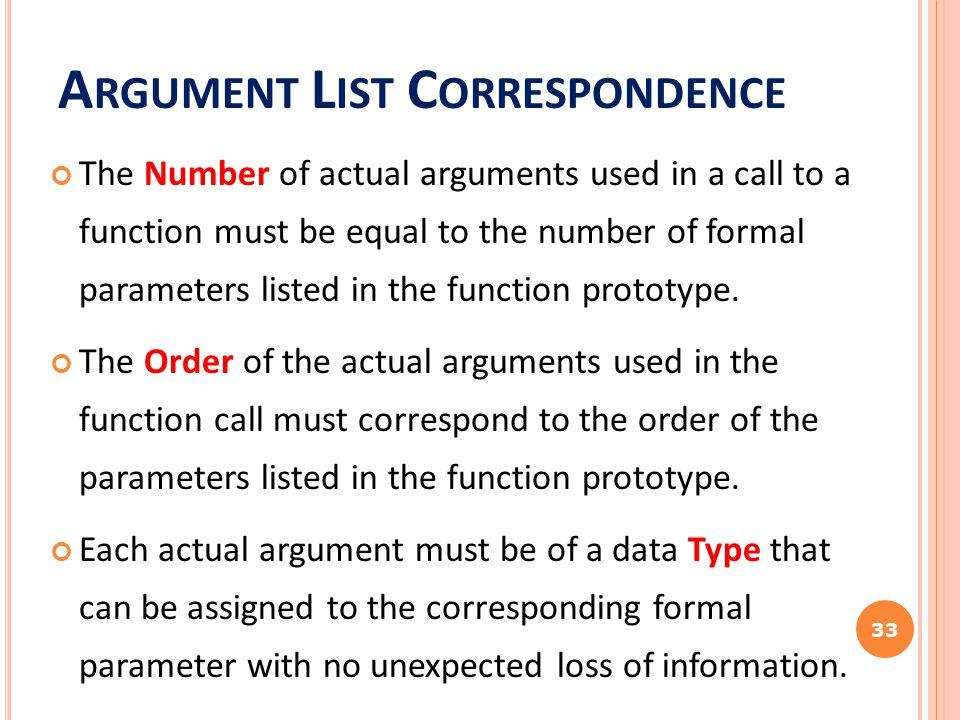 Argument List Correspondence