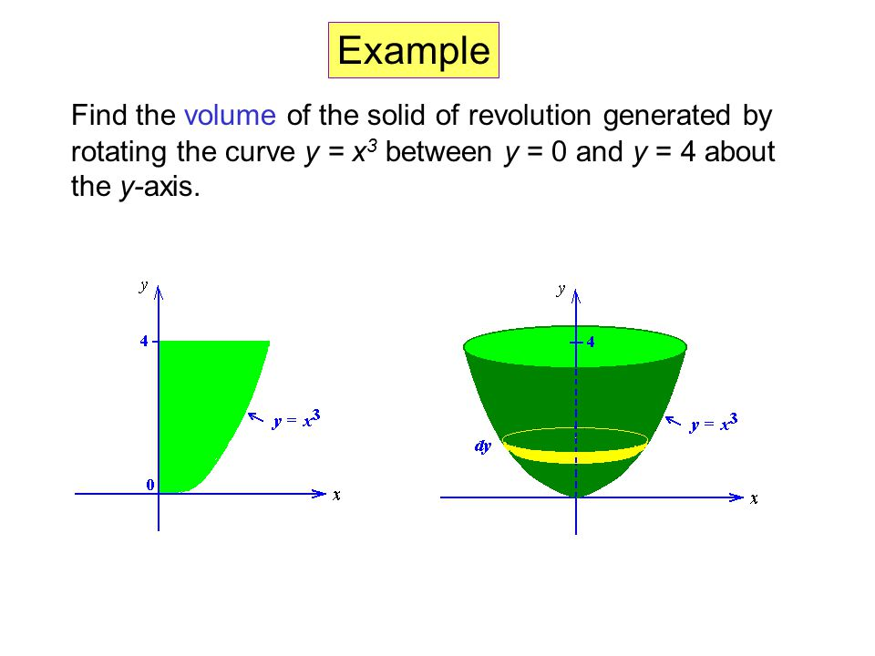 Volume the disk method ppt video online download 8 example find the volume of the solid of revolution generated by rotating the curve y x3 between y 0 and y 4 about the y axis ccuart Image collections