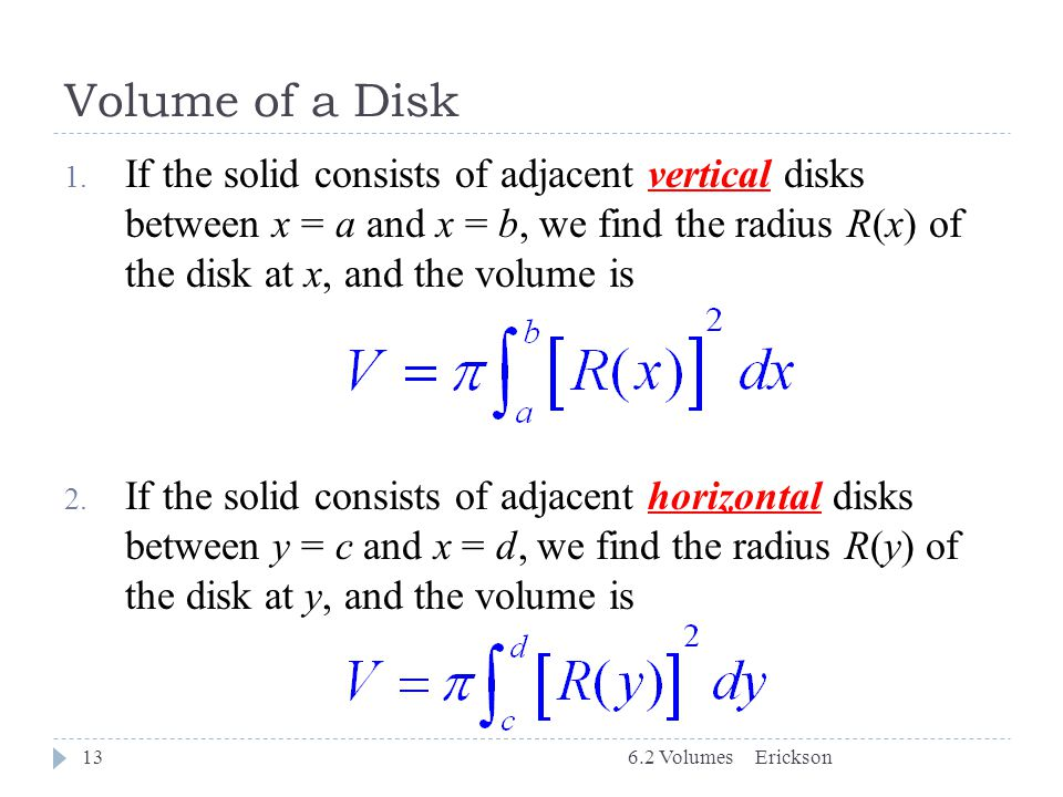 Volume of a Disk