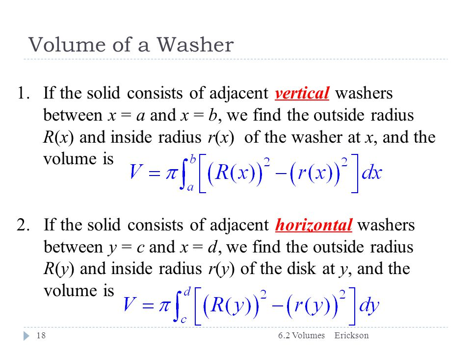 Volume of a Washer