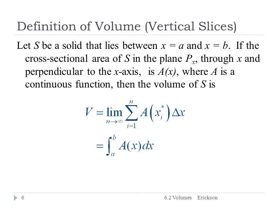 Definition of Volume (Vertical Slices)