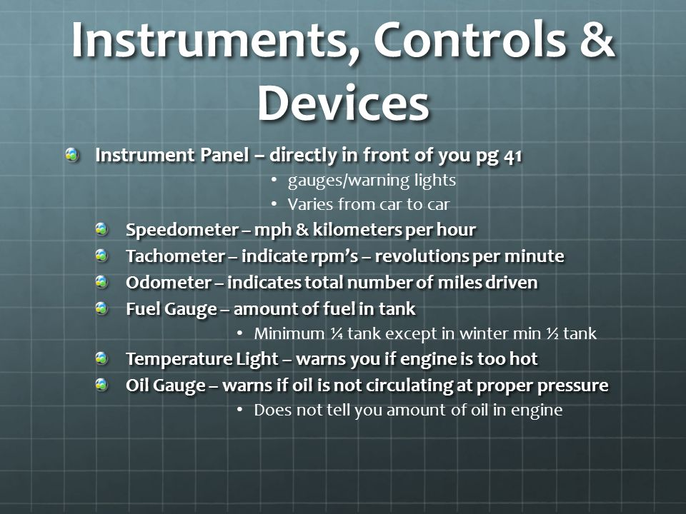 Instruments, Controls & Devices
