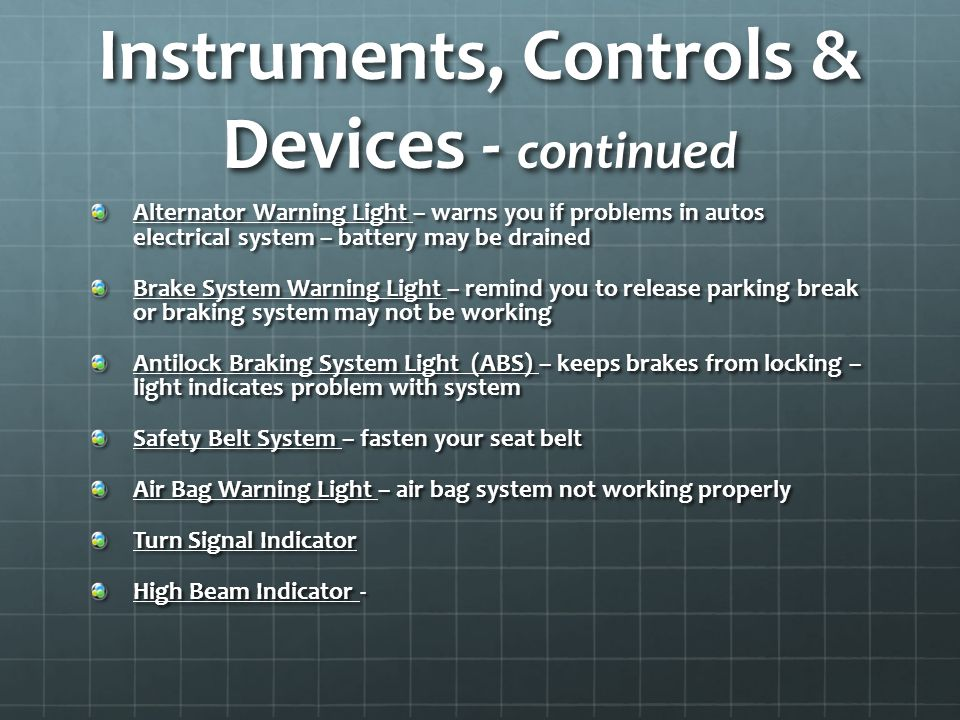 Instruments, Controls & Devices - continued