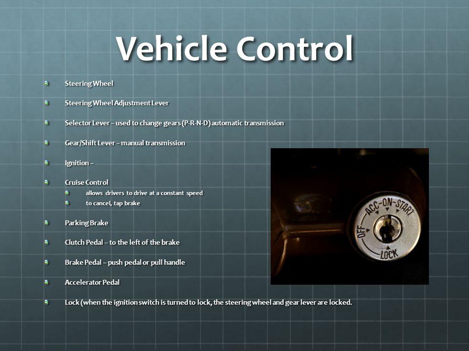 Vehicle Control Steering Wheel Steering Wheel Adjustment Lever