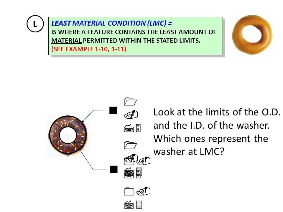 L LEAST MATERIAL CONDITION (LMC) = IS WHERE A FEATURE CONTAINS THE LEAST AMOUNT OF. MATERIAL PERMITTED WITHIN THE STATED LIMITS.