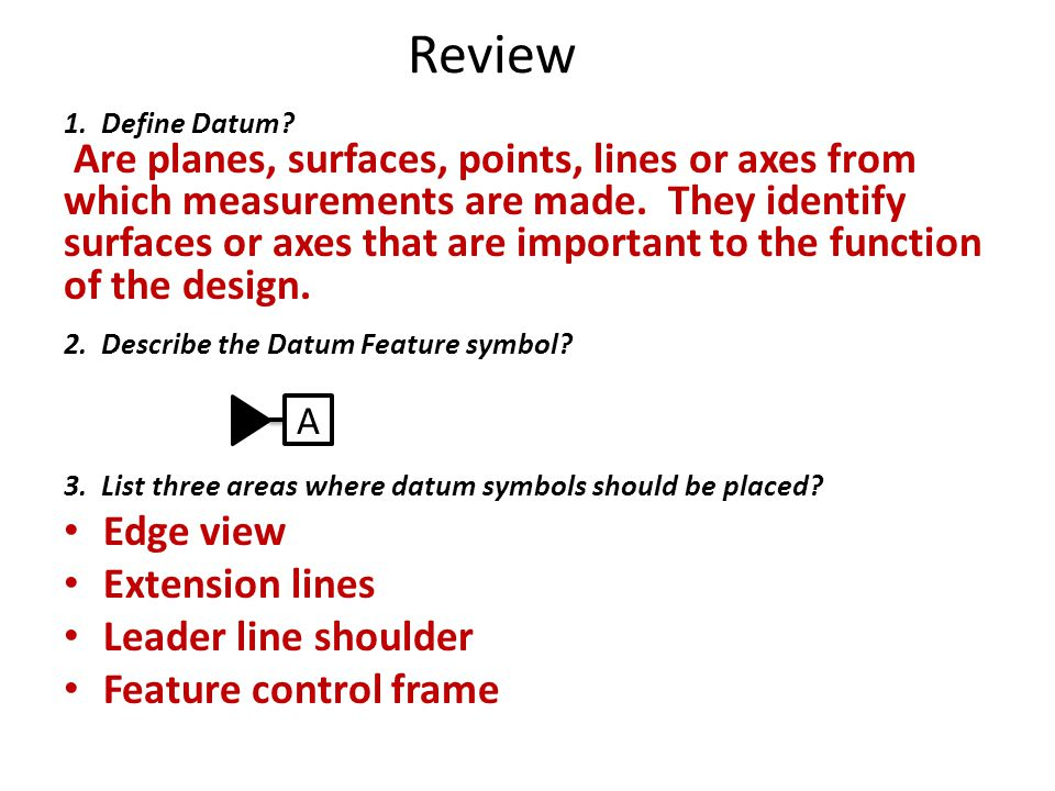 Review Edge view Extension lines Leader line shoulder