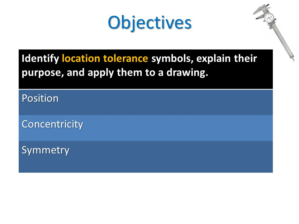 Objectives Identify location tolerance symbols, explain their purpose, and apply them to a drawing.