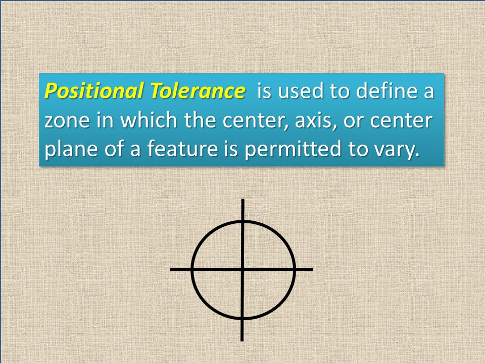 Positional Tolerance is used to define a zone in which the center, axis, or center plane of a feature is permitted to vary.
