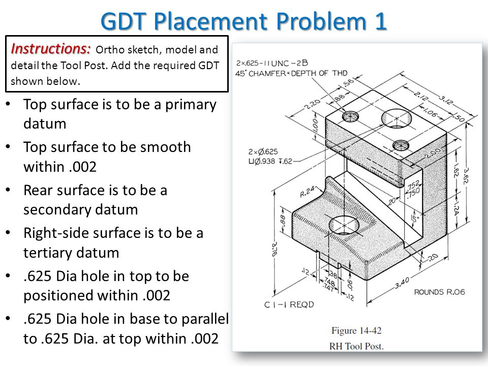 GDT Placement Problem 1 Instructions: Ortho sketch, model and detail the Tool Post. Add the required GDT shown below.