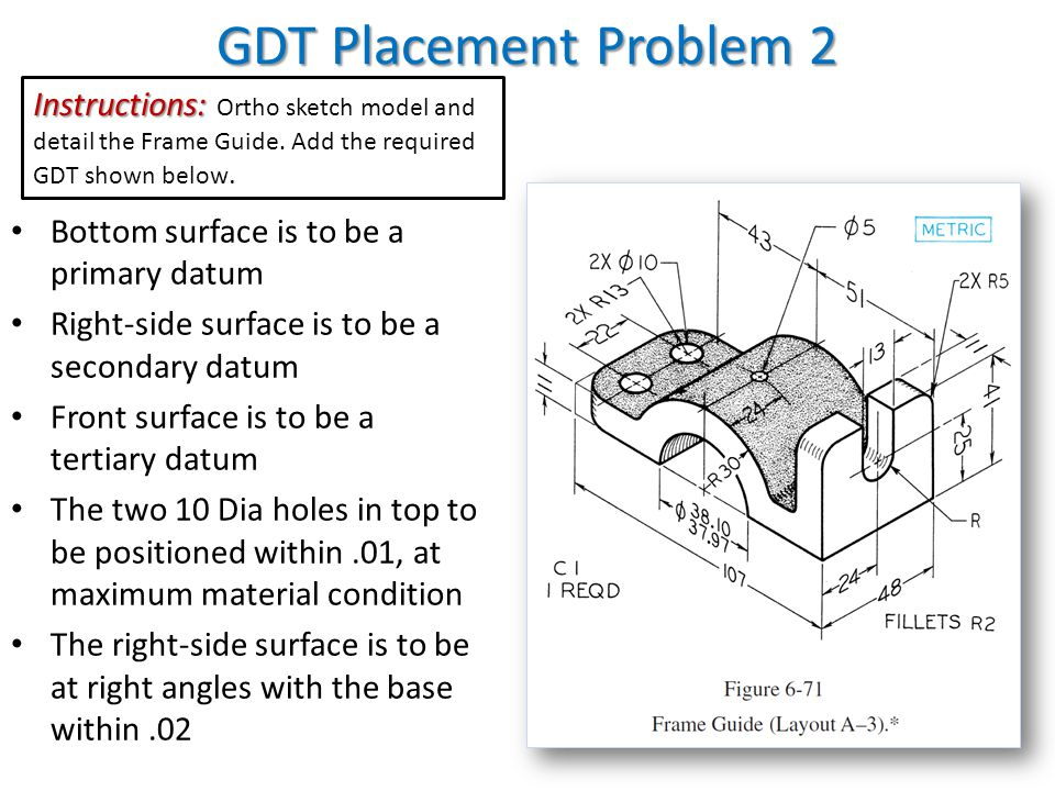 GDT Placement Problem 2 Instructions: Ortho sketch model and detail the Frame Guide. Add the required GDT shown below.