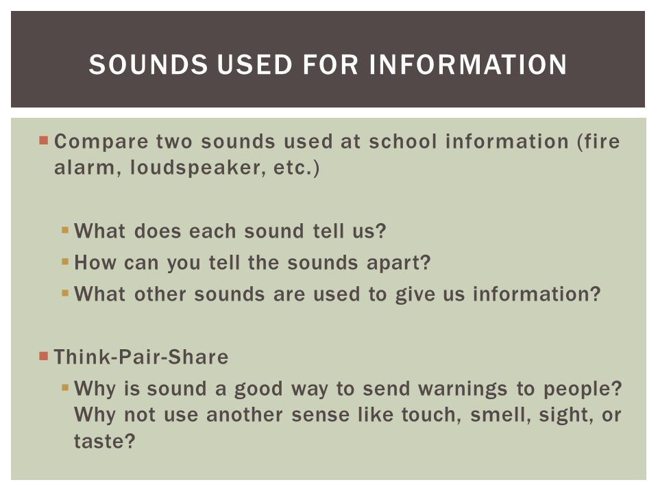 Sounds Used for Information