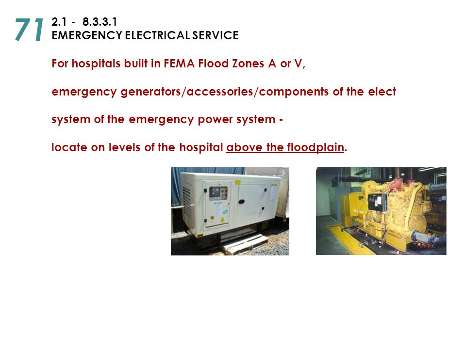 71 2.1 - 8.3.3.1 EMERGENCY ELECTRICAL SERVICE