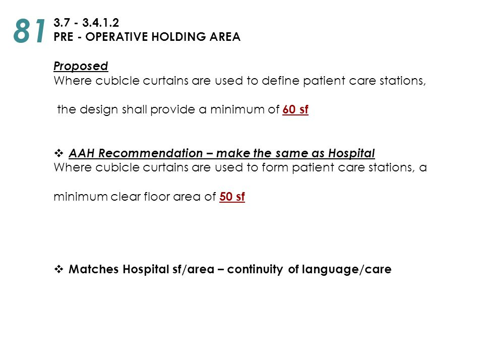 81 3.7 - 3.4.1.2 PRE - OPERATIVE HOLDING AREA Proposed
