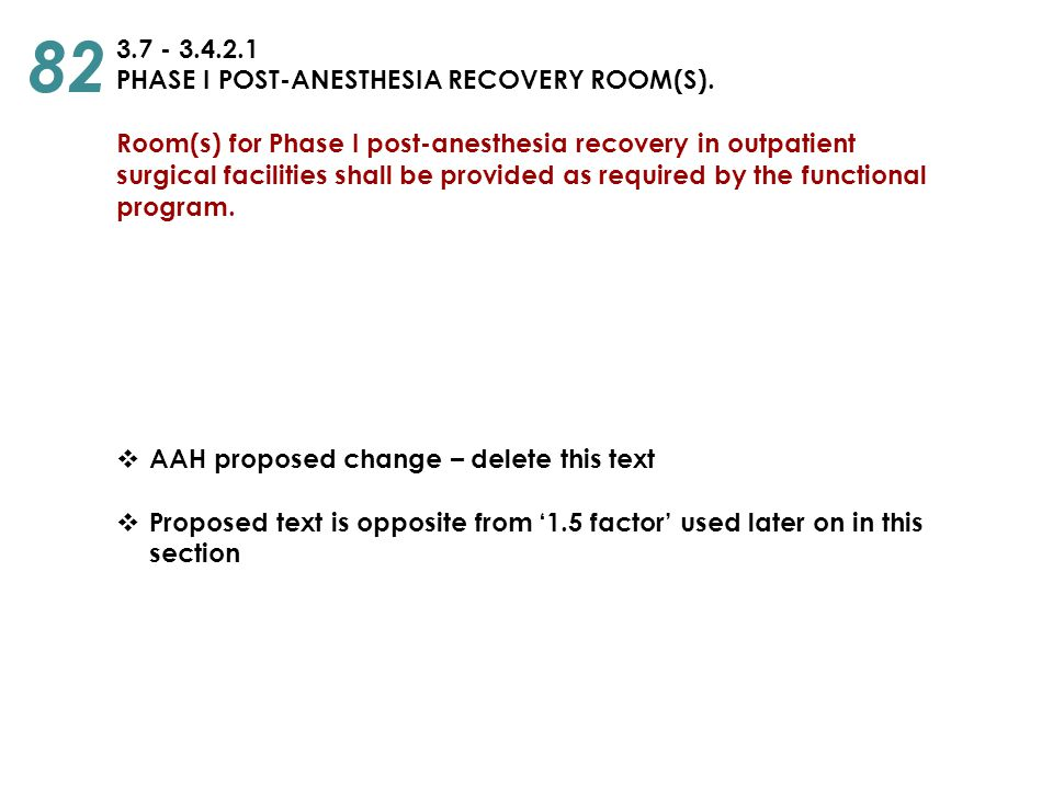 82 3.7 - 3.4.2.1 PHASE I POST-ANESTHESIA RECOVERY ROOM(S).