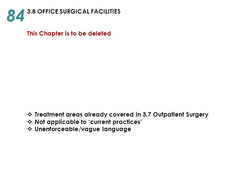 84 3.8 OFFICE SURGICAL FACILITIES This Chapter is to be deleted