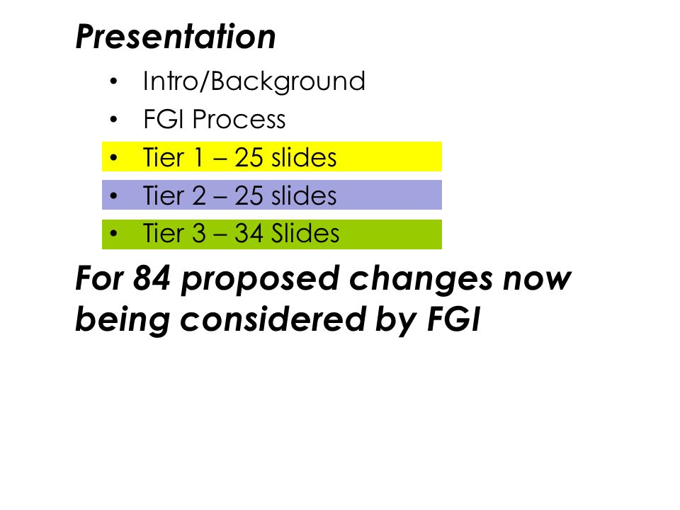 For 84 proposed changes now being considered by FGI