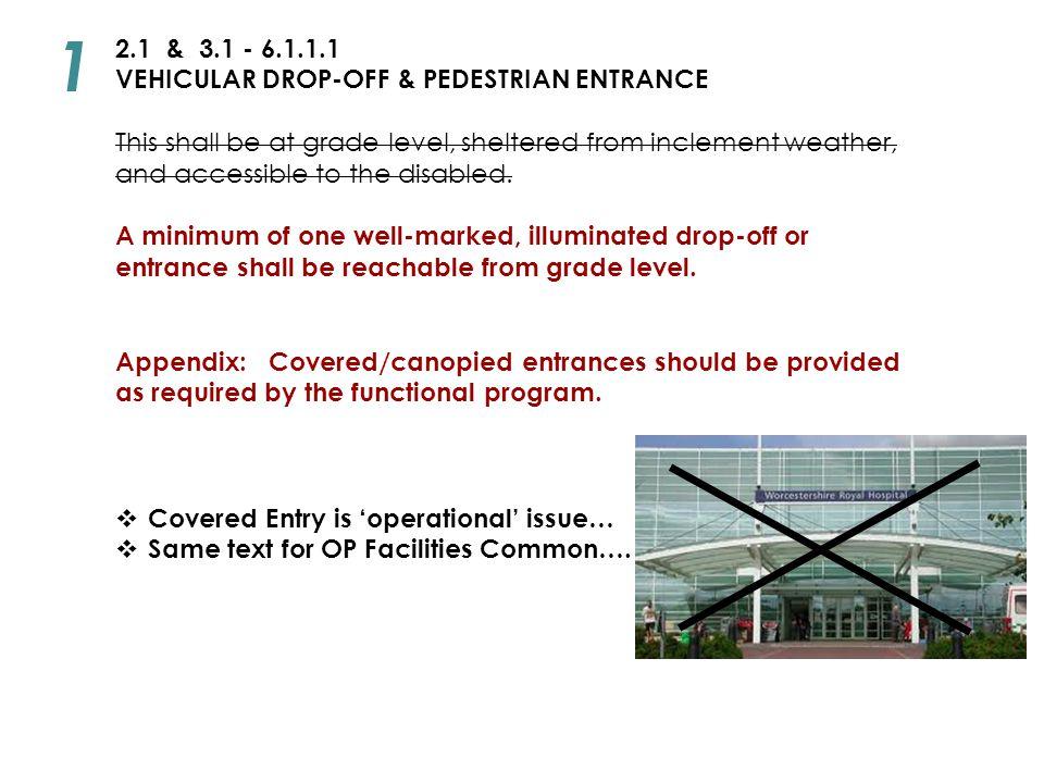 1 2.1 & 3.1 - 6.1.1.1 VEHICULAR DROP-OFF & PEDESTRIAN ENTRANCE