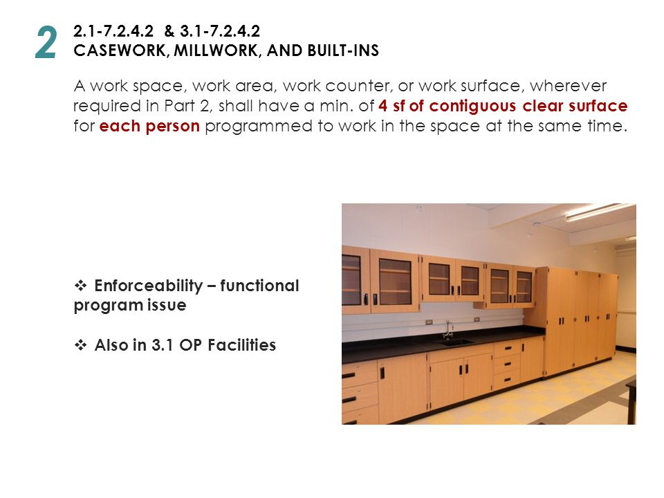 2 2.1-7.2.4.2 & 3.1-7.2.4.2 CASEWORK, MILLWORK, AND BUILT-INS