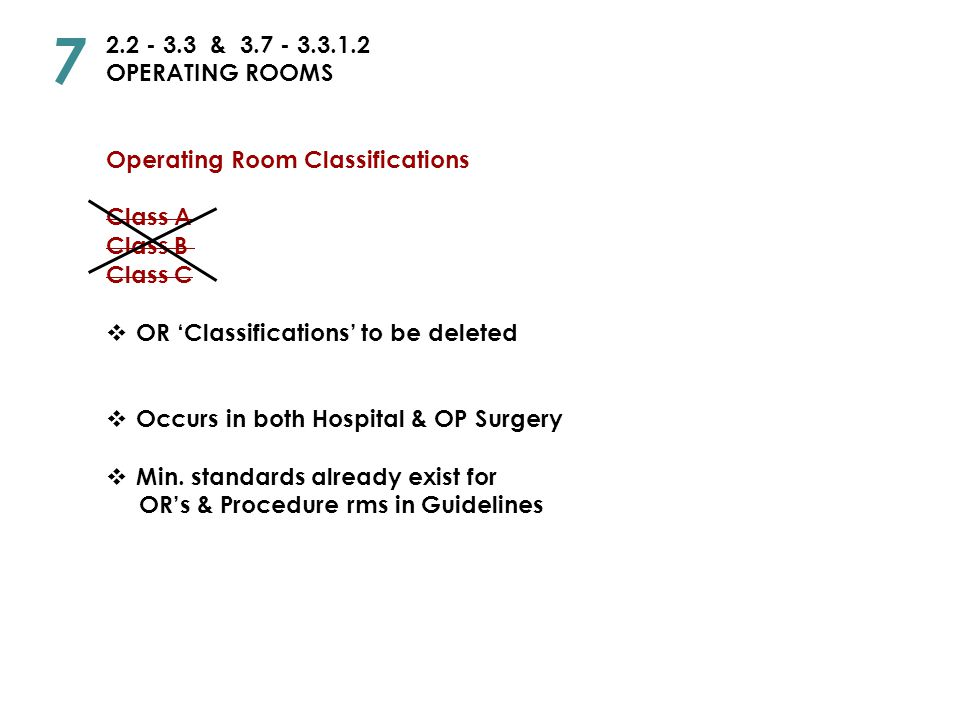7 2.2 - 3.3 & 3.7 - 3.3.1.2. OPERATING ROOMS. Operating Room Classifications. Class A. Class B