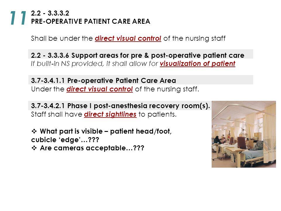 11 2.2 - 3.3.3.2 PRE-OPERATIVE PATIENT CARE AREA