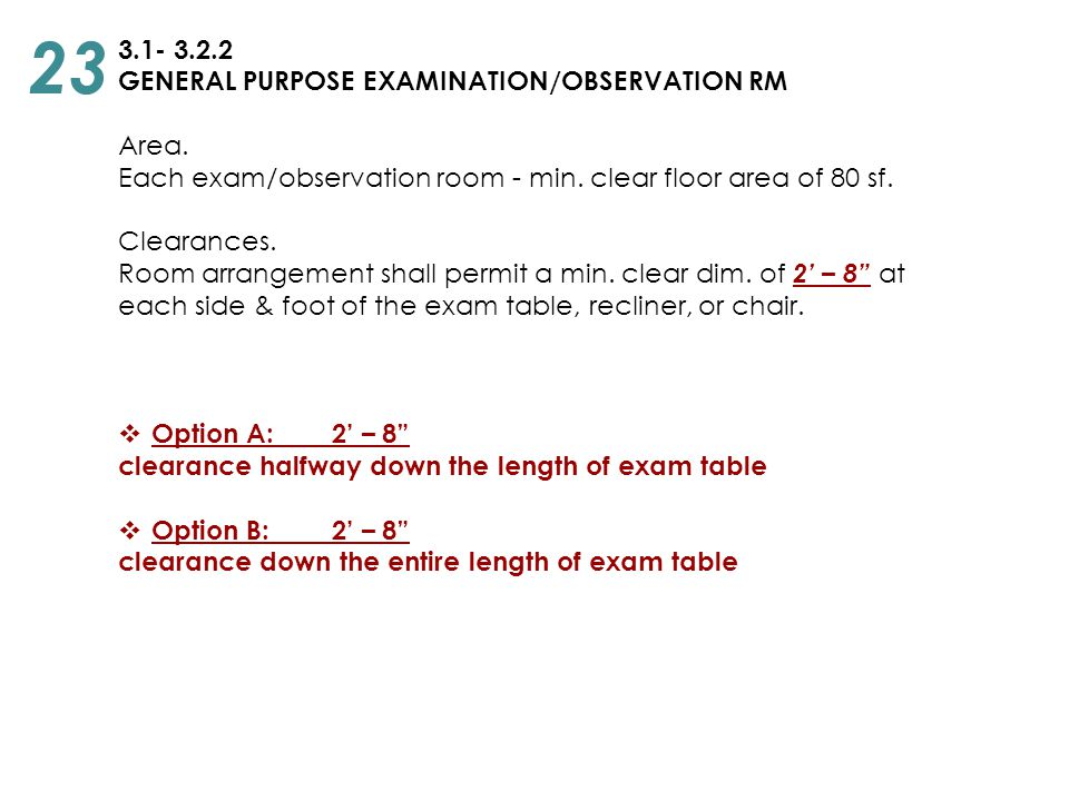 23 3.1- 3.2.2 GENERAL PURPOSE EXAMINATION/OBSERVATION RM Area.
