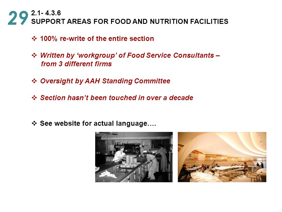 29 2.1- 4.3.6 SUPPORT AREAS FOR FOOD AND NUTRITION FACILITIES