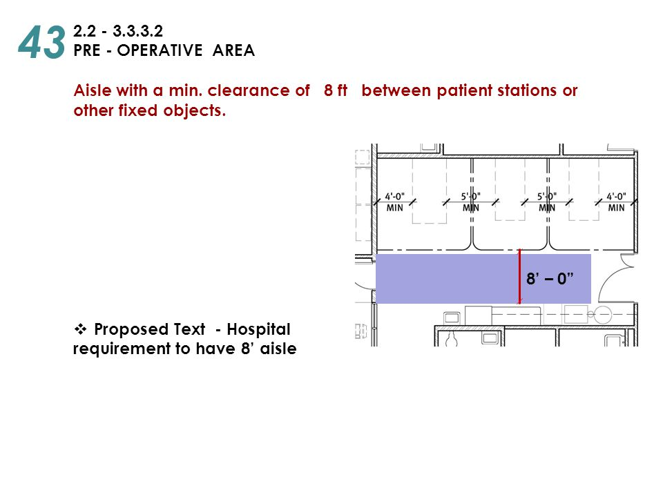 43 2.2 - 3.3.3.2. PRE - OPERATIVE AREA. Aisle with a min. clearance of 8 ft between patient stations or.