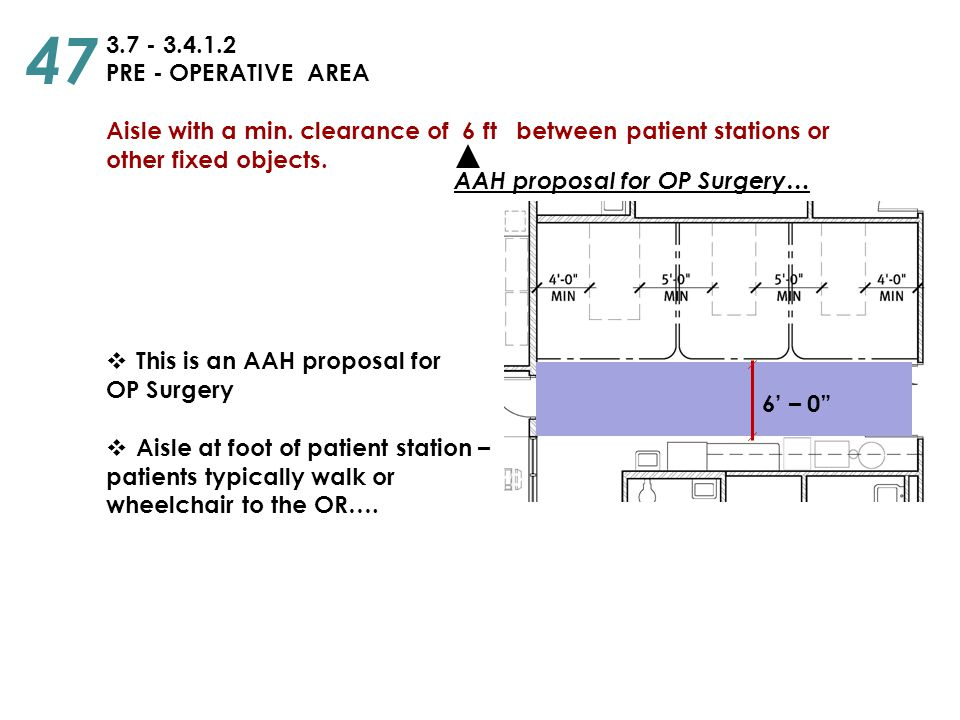 47 3.7 - 3.4.1.2. PRE - OPERATIVE AREA. Aisle with a min. clearance of 6 ft between patient stations or.
