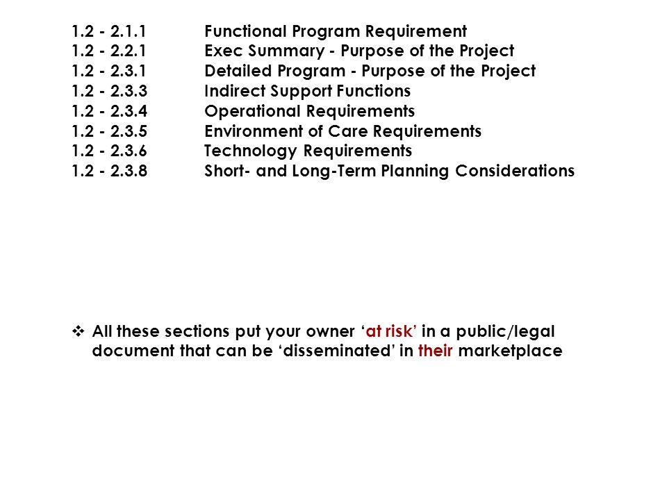 1.2 - 2.1.1 Functional Program Requirement
