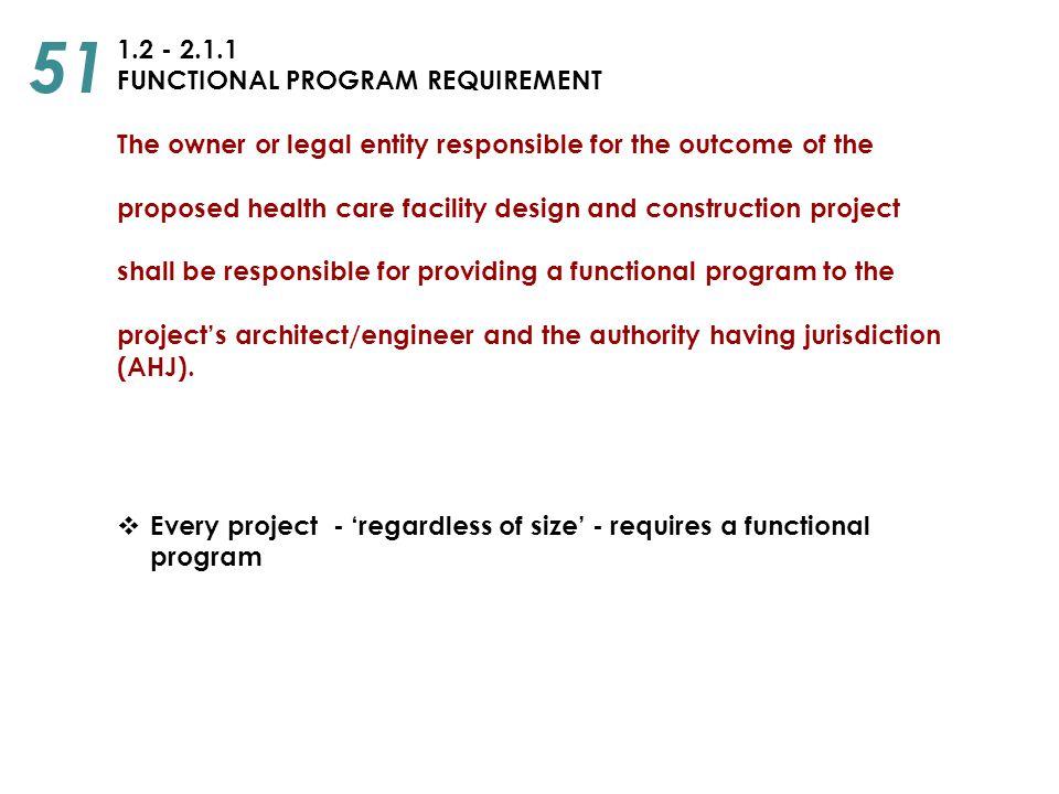 51 1.2 - 2.1.1 FUNCTIONAL PROGRAM REQUIREMENT