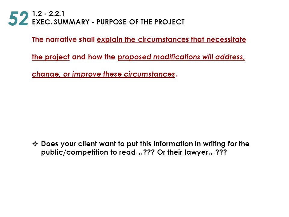 52 1.2 - 2.2.1 EXEC. SUMMARY - PURPOSE OF THE PROJECT