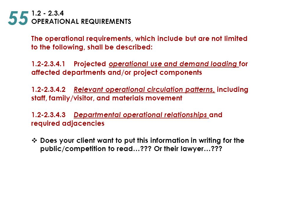 55 1.2 - 2.3.4 OPERATIONAL REQUIREMENTS