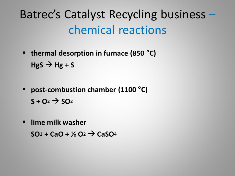 Batrec's Catalyst Recycling business – chemical reactions