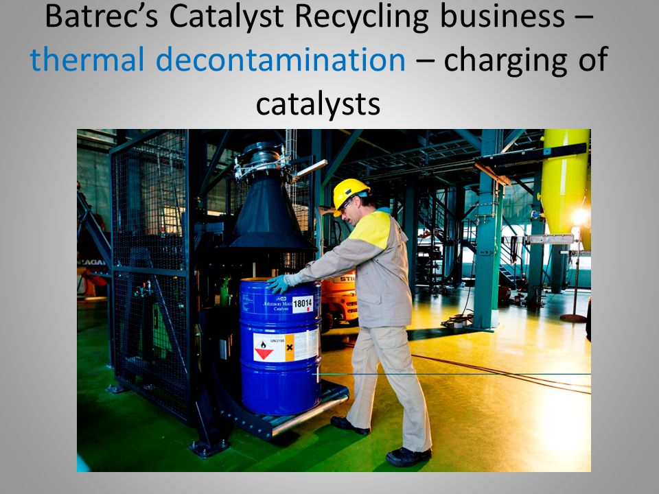 Batrec's Catalyst Recycling business – thermal decontamination – charging of catalysts