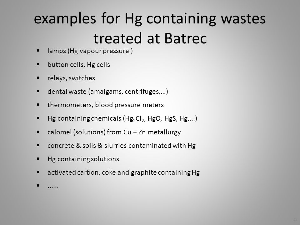 examples for Hg containing wastes treated at Batrec